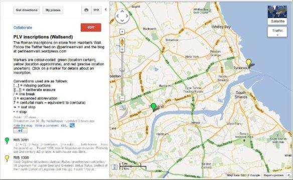 Inscriptions on Google Maps